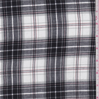 *4 1/4 YD PC--Black/White/Grey Plaid Cotton Shirting
