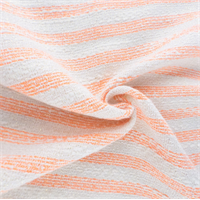 *1 1/4 YD PC--Orange/White Sparkle Cotton Blend Slub Stripe Woven