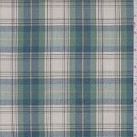Ecru/Jade/Blue Plaid Sparkle Cotton Shirting