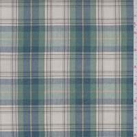 Ecru/Jade/Blue Plaid Sparkle Cotton Shirting