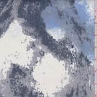 Grey/Blue/Jade Splotch Print Stretch Twill