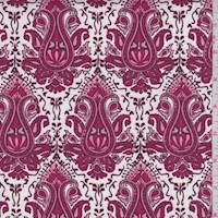White/Ruby Baroque Medallion Stretch Twill