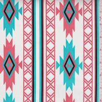 White/Aqua/Coral Southwest Stretch Twill
