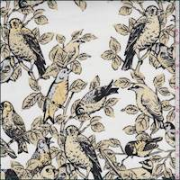 Ivory/Bisque Bird Print Stretch Twill