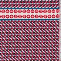 White/Red/Teal Mosaic Print Georgette