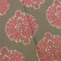 *6 YD PC - Brown/Red Medallion Print Home Decorating Fabric
