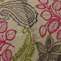 *3 1/2 YD PC - Beige/Multi Paisley Embroidered  Home Decorating Fabric