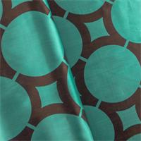*7 1/2 YD PC - Turquoise/Brown Circle Lattice Drapery Fabric