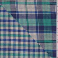 *2 1/2 YD PC--Ecru Multi Plaid Double Face Gauze