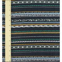 *1 1/2 YD PC--Navy Blue/White/Multi Patterned Stripe Dobby Woven