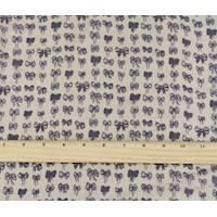 *5 3/8 YD PC--Deep Purple/Beige Ribbon Print Chiffon