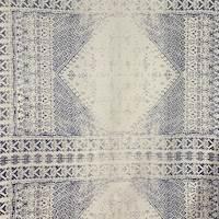 *3 3/4 YD PC--Denim Blue/Ivory Silk Chiffon