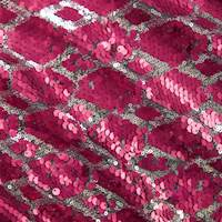 Silver/Pink Diamond Sequin Stretch Mesh