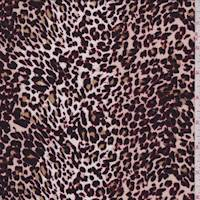 White/Maroon Mini Animal Print Rayon Challis