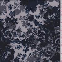 *1 7/8 YD PC--Pearl Grey/Midnight Pixelated Floral Scuba Knit