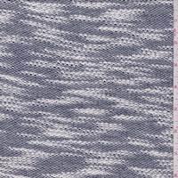 White/Navy Slubbed Sweater Knit