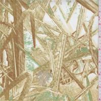 "*2 3/4 YD PC--White/Brown ""Blades"" Print Cotton Canvas"