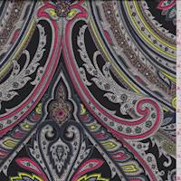 *3 1/2 YD PC--Black/Pink Multi Paisley Charmeuse