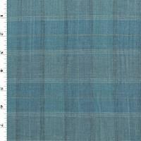 *1 5/8 YD PC--Blue/Ocean Teal/Multi Linen Blend Plaid Shirting