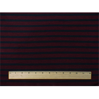 *3 YD PC--Sangria Red/Black Wool Stripe Jersey Knit