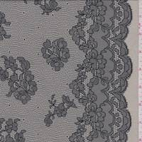 *2 YD PC--Taupe/Black Floral Lace Print Jersey Knit