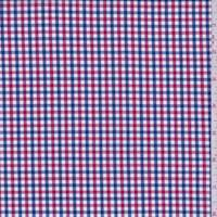 *4 YD PC--Red/Navy/White Mini Check Cotton Shirting