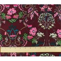 *1 1/2 YD PC--Burgundy/Multi Floral Print Polyester Challis