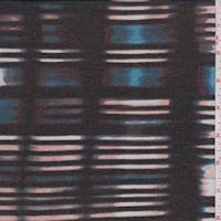 Black/Teal Abstract Stripe Chiffon
