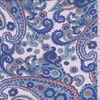 Pale Peach/Blue Paisley Chiffon
