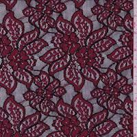 Ruby/Black Stylized Floral Jacquard Mesh