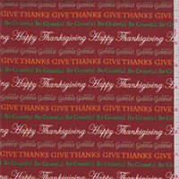 *1 3/4 YD PC--Harvest Red Thanksgiving Print Cotton
