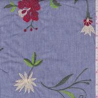 Dark Blue Stripe Embroidered Floral Cotton