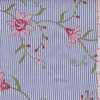 Navy Blue Stripe Embroidered Floral Shirting