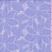 Light Blue Stripe Embroidered Floral Rayon