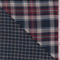 Dark Navy/Tan Plaid Double Face Gauze