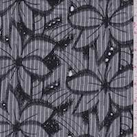 Black Stripe Embroidered Floral Rayon