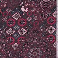 Wine Moroccan Medallion Crepe de Chine