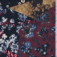Black/Berry Floral Patchwork Georgette