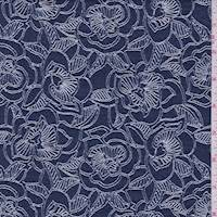 Dark Ink Floral Jacquard Stretch Denim