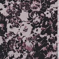 Pearl Grey/Plum Mottled Floral Crepe de Chine