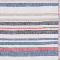 White/Blue/Black Stripe Linen Blend