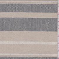 Light Khaki/Grey Stripe Linen Blend Canvas
