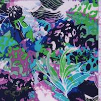 Lime/Purple/Aqua Jungle Print Slinky Knit