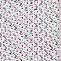 *2 1/8 YD PC--White Ribbon Print Voile