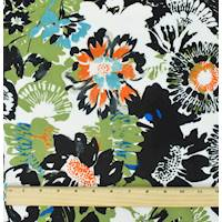 *3 YD PC--Black/Orange/Multi Floral Print Crepe Faille