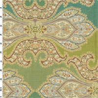 *2 1/2 YD - Teal/Green Designer Paisley Jacquard Home Decorating Fabric