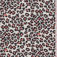 *5 1/4 YD PC--Ivory/Orange Cheetah Print Crepe de Chine