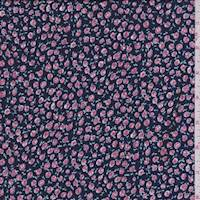 *4 1/4 YD PC--Navy/Rose Mini Floral Crepe de Chine