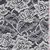*2 YD PC--Black/White Rose Lace Crepe de Chine