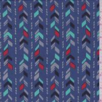 *5 YD PC--Medium Blue Arrow Stripe Crepe de Chine